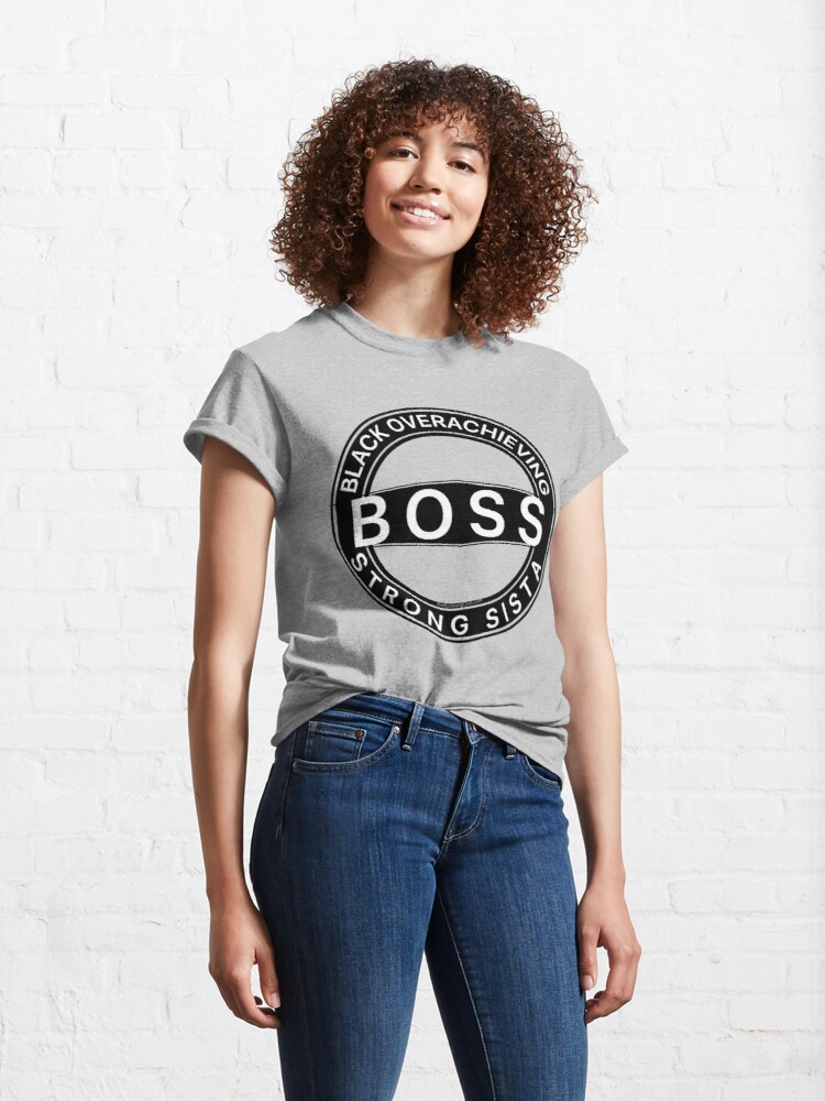 Alternate view of Black Overachieving Strong Sista Classic T-Shirt