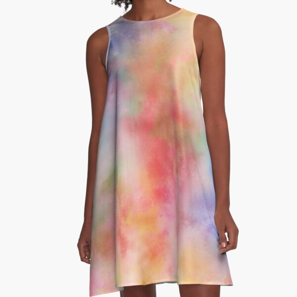 Rainbow Watercolor Abstract Tie Dye Painting A-Line Dress