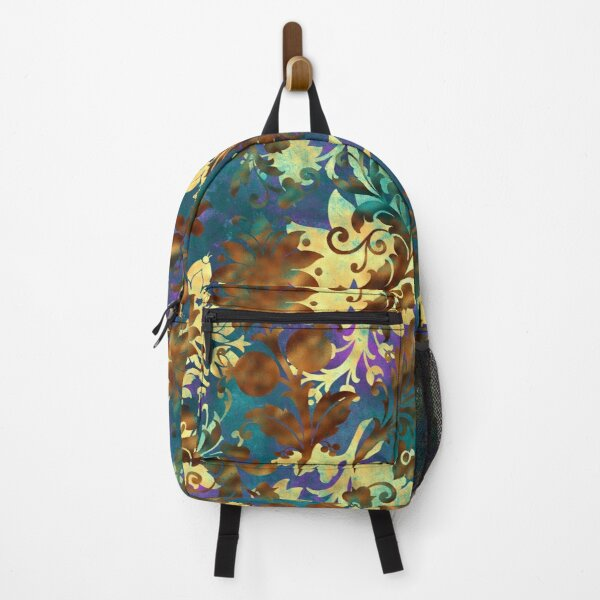 Jungle Floral Neck Gator Blue Gold and Brown Jungle Flowers Backpack