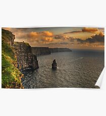 cliffs of moher scenic sunset landscape seascape ireland Poster
