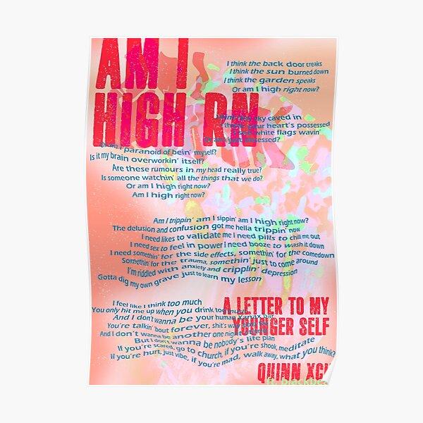 Am I High Rn - Quinn XCII (ft. blackbear) typographic Poster