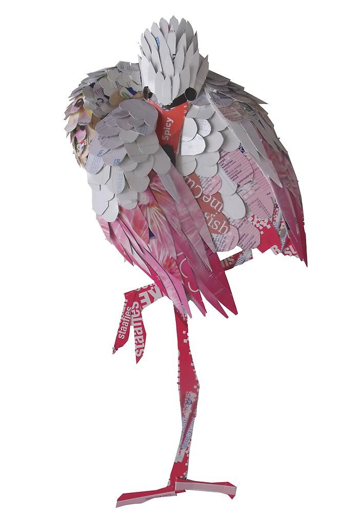 resting flamingo by Ruud van Koningsbrugge