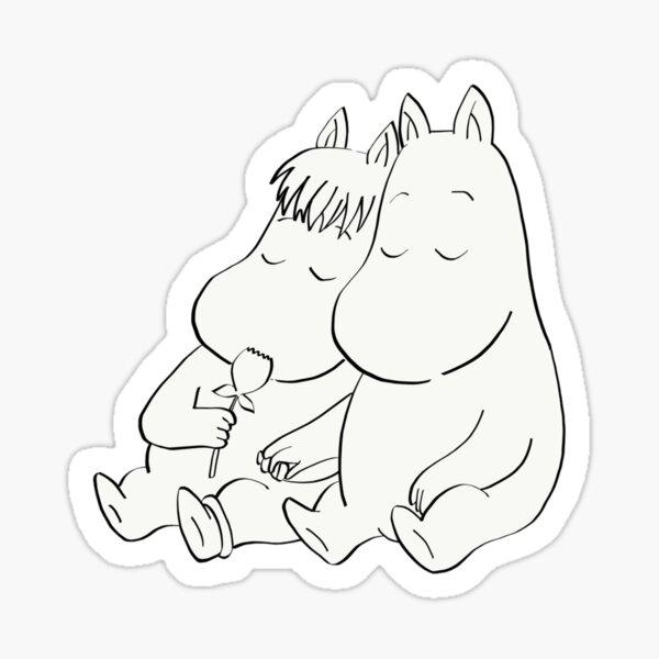 Moomin and Snork Maiden black outline Sticker