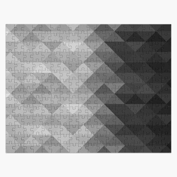 Grayscale triangle geometric squares pattern Jigsaw Puzzle