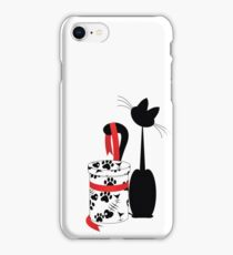 big black cat and box with red ribbon iPhone Case/Skin
