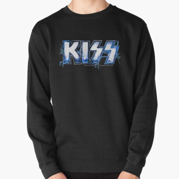 KISS rock music band -  Blue Lightning Logo Faces Pullover Sweatshirt