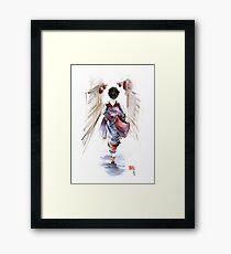Geisha Japanese woman in kimono original Japan painting art Framed Print