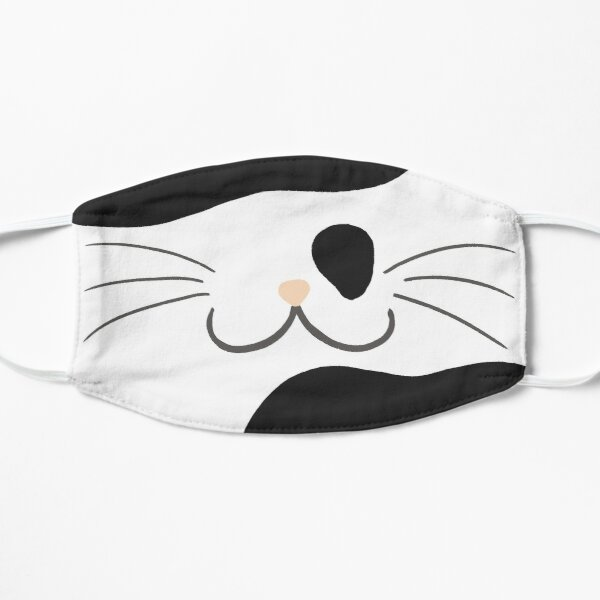 White With Black Spots Cat Mouth Flat Mask