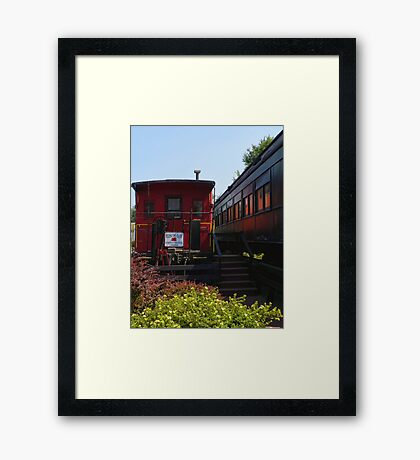 Red Caboose and Trout Car Framed Print