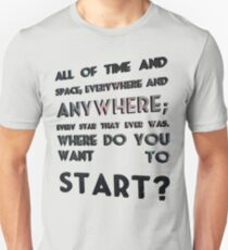 where do you want to start? Unisex T-Shirt