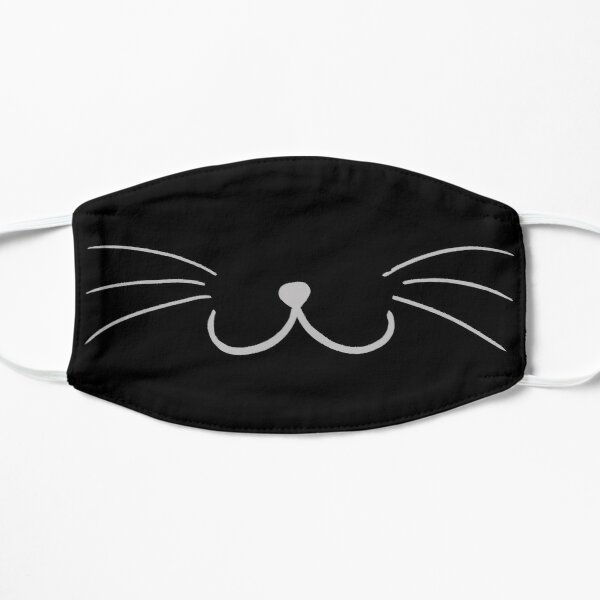 Black Cat Mouth Flat Mask