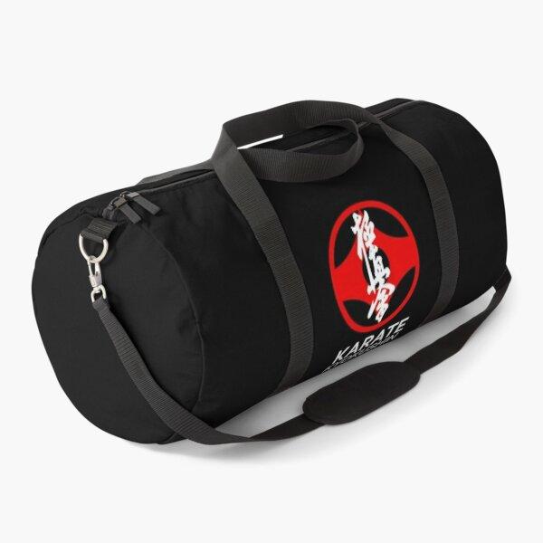 Kyokushin Karate Symbol and Kanji White Text Duffle Bag