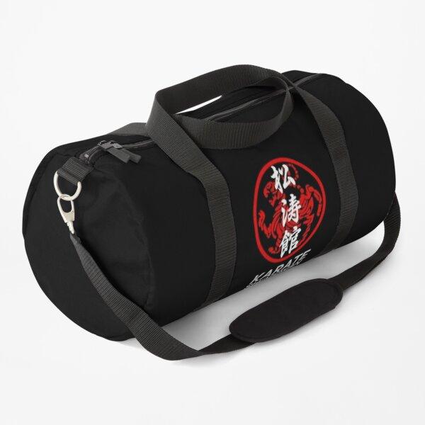 Shotokan Karate Symbol and Kanji White Text Duffle Bag