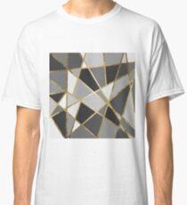 Black & Gray Modern Geo Gold Triangles Classic T-Shirt