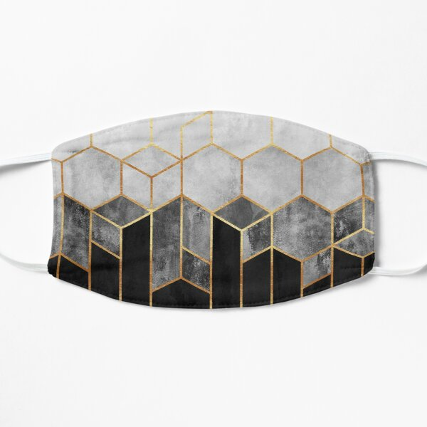 Charcoal Hexagons Flat Mask