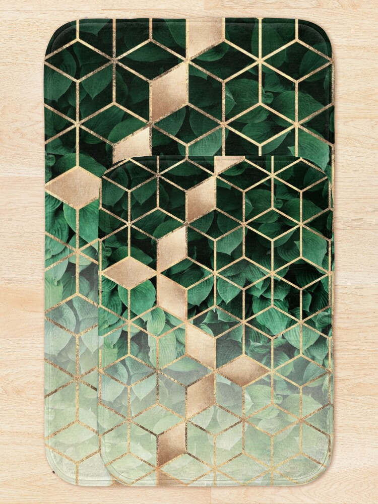 Alternate view of Leaves And Cubes Bath Mat