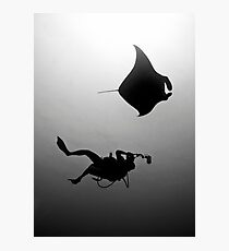 Manta and Diver in Black and White Photographic Print