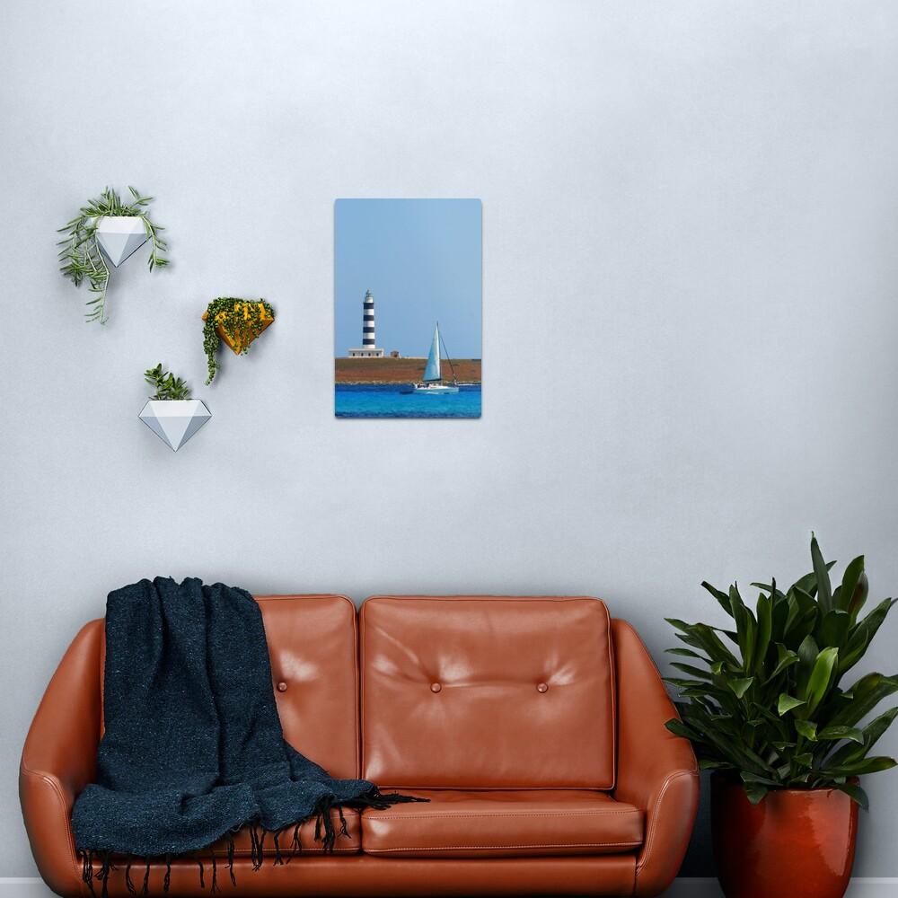 Lighthouse & Boat, Menorca Metal Print