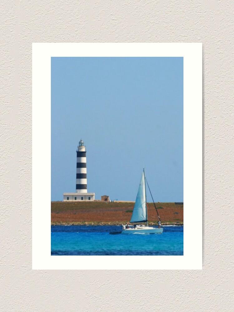 Alternate view of Lighthouse & Boat, Menorca Art Print