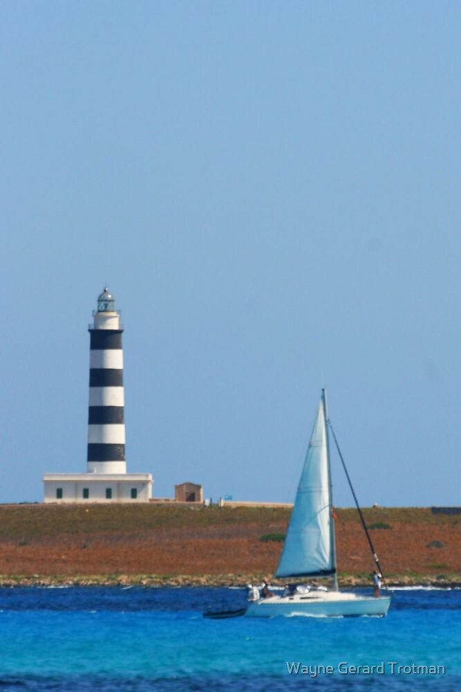 Lighthouse & Boat, Menorca by Wayne Gerard Trotman