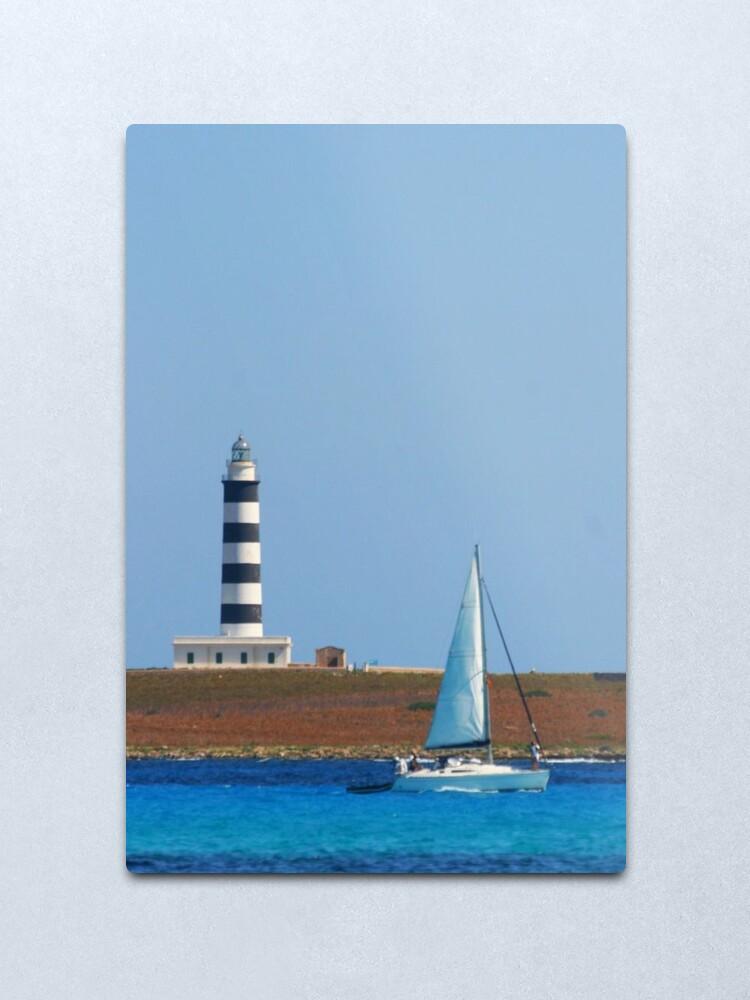 Alternate view of Lighthouse & Boat, Menorca Metal Print