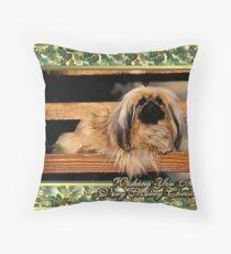 Pekingese Dog Christmas Throw Pillow