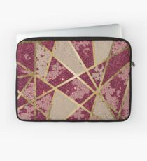 Rustic Chic Burgundy Red Glitter & Gold Triangles Laptop Sleeve