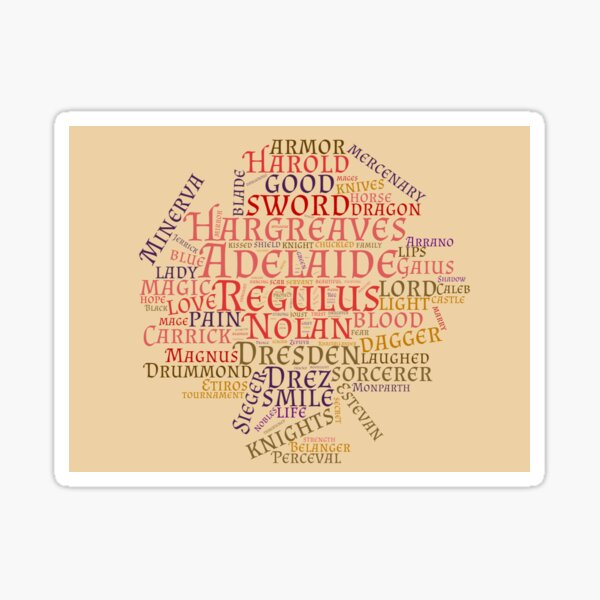 Prince of Shadow and Ash word cloud Sticker
