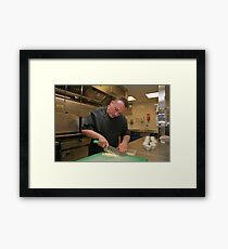 Chef prepares boiled eggs at Tapas Revolution Framed Print