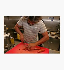 Omar Allibhoy chops chorizo sausages Photographic Print