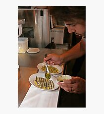 Omar Allibhoy prepares anchiovies at his restaurant Tapas Revolution Photographic Print