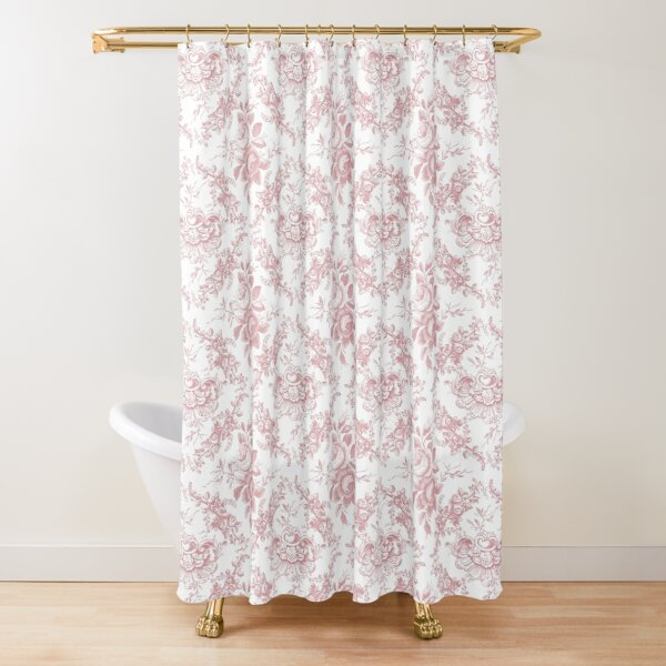Pink Rose Toile Shower Curtain