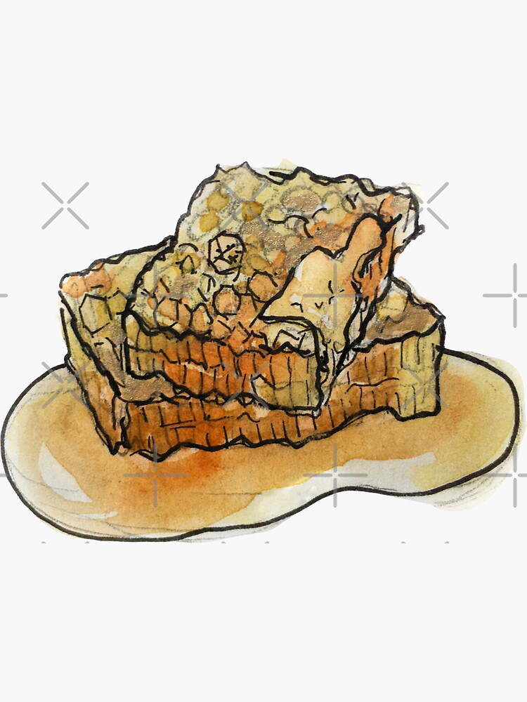 Raw Honeycomb Illustration in Watercolor by WitchofWhimsy
