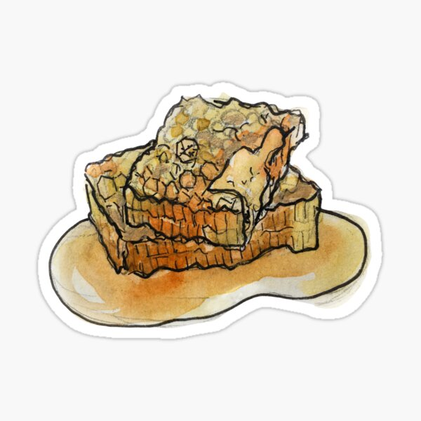 Raw Honeycomb Illustration in Watercolor Sticker