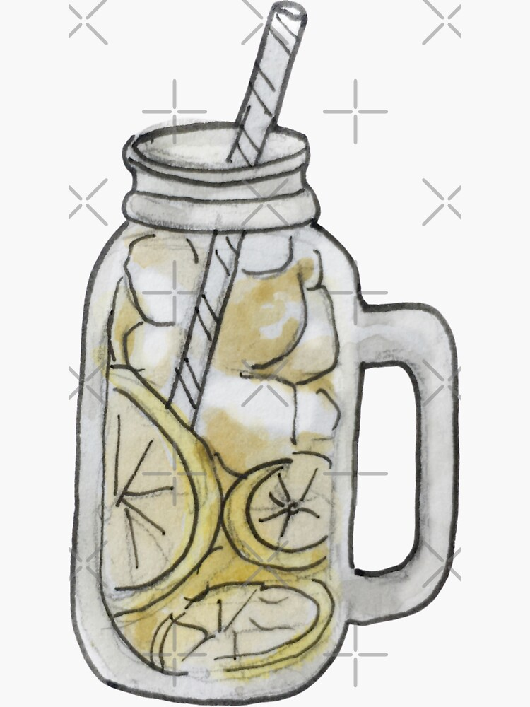 Iced Lemon Green Tea in Mason Jar with Straw Illustration in Watercolor by WitchofWhimsy