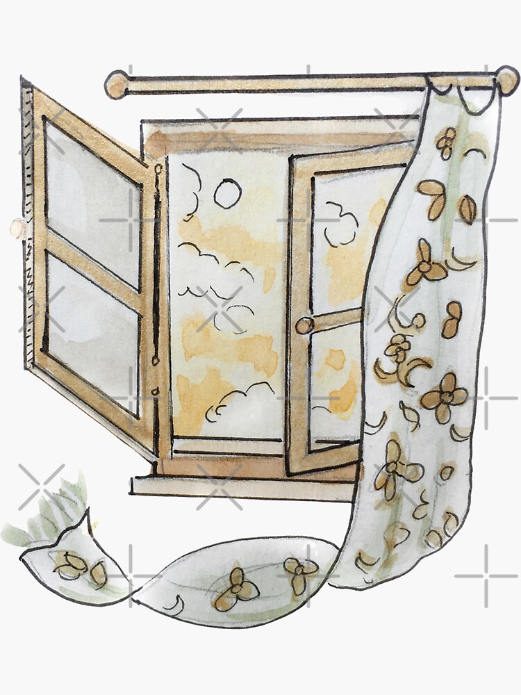 Open Window with Sunny Sky and Flower Curtain  Illustration in Watercolor by WitchofWhimsy