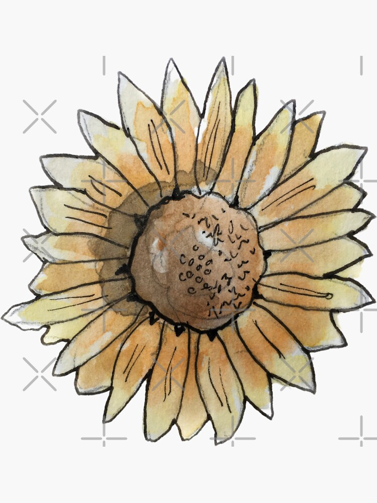 Burnt Orange Sunflower Illustration in Watercolor by WitchofWhimsy
