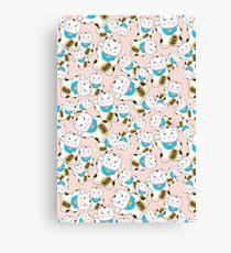 Maneki-neko good luck cat pattern Canvas Print