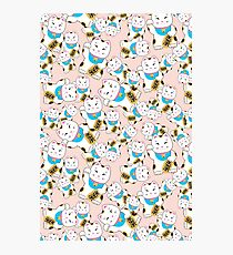 Maneki-neko good luck cat pattern Photographic Print