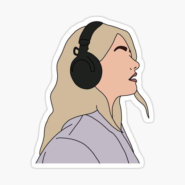 GIRL WITH HEADPHONES Sticker