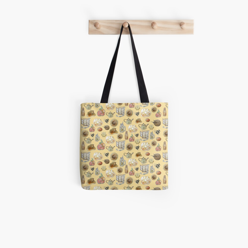 Solar Witch Pattern - Wrap Around with Yellow Background Tote Bag