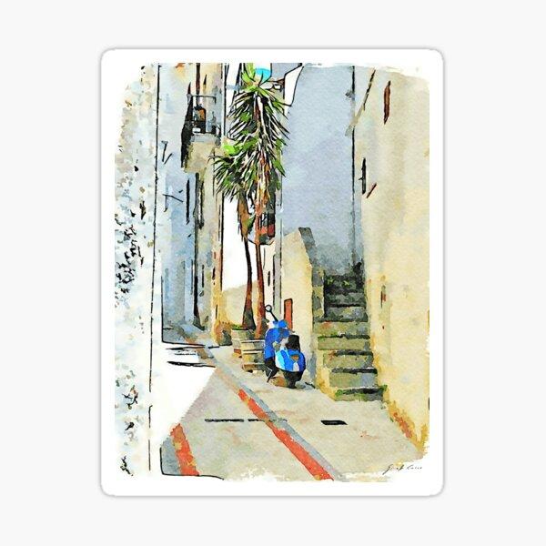 Tortora alley with scooter Sticker