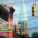Cityscape steeple,buildings & wires by LindaAppleArt