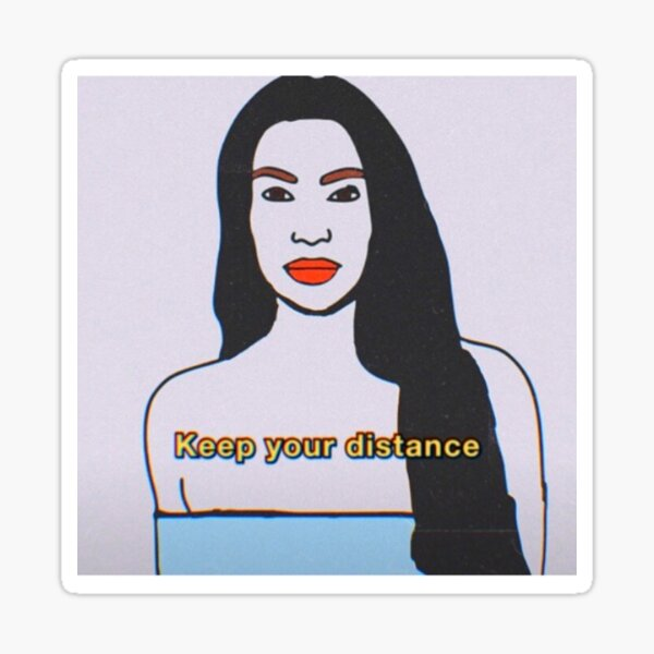 Lady with keep your distance text Sticker