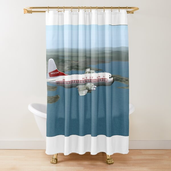 Western Airlines Electra L-188 Shower Curtain