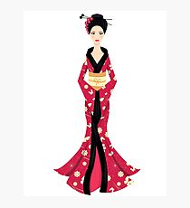 Cute Asian Girl Character on scarlet kimono Photographic Print