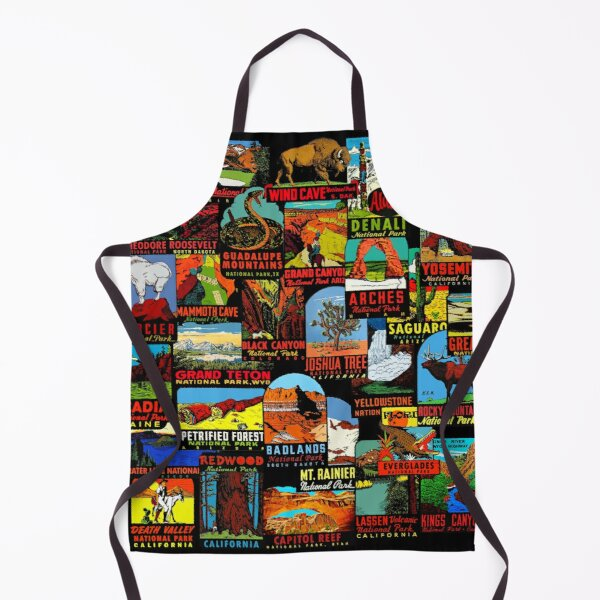 American National Parks Vintage Travel Decal Bomb Apron