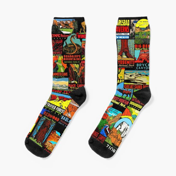 American National Parks Vintage Travel Decal Bomb Socks