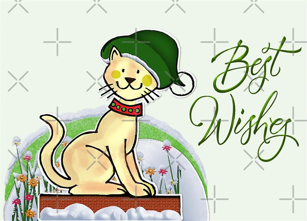 Cat Says Best Wishes by Vickie Emms