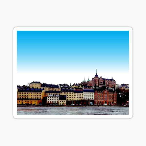 Buildings on the waterfront - Stockholm Sweden Sticker